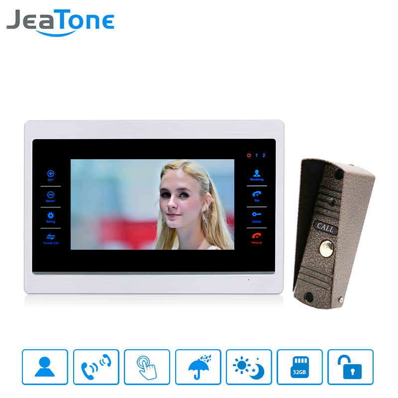JeaTone 7 inch Wired Video Door Phone Doorbell Intercom Touch-Button Monitor + 1200TVL Waterproof Security Camera Call Panel