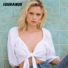 IUURANUS Casual cotton sexy summer black white camis women deep v neck blouses and tops crop top female holiday beach clothing