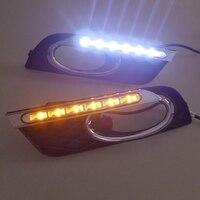 LED Daytime Running Light With Turning Light Function Fog Lamp Hole For Honda Civic 2011 2012