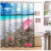 YY612f14 New Custom Sea Beach Flower I Love You Modern Shower Curtain bathroom Waterproof lJ-w14
