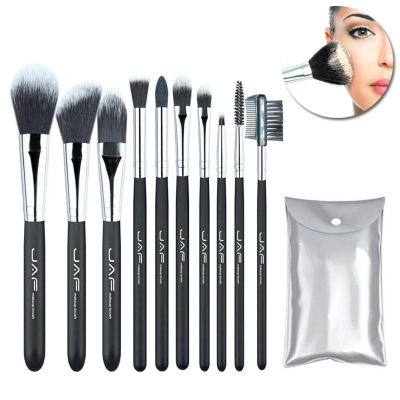 JAF 10pcs Make Up Brushes Tools kit Soft Synthetic Hair Cosmetic Beauty Makeup Eye Shadow Lip Brush Sets with Case YE2 24 pcs soft synthetic hair make up tools kit cosmetic beauty makeup brush sets foundation brushes with pink love heart case