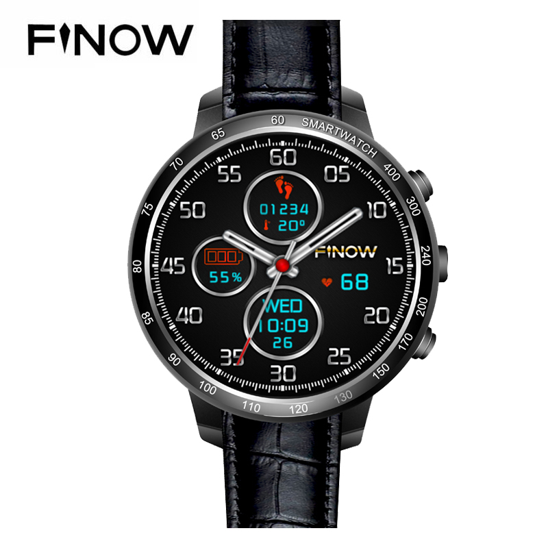 цена Finow Q7 plus smart watch Android 5.1 Four Core 0.3MP Camera 3G Smartwatches support 32GB TFcard Wifi BT watch phone for Android