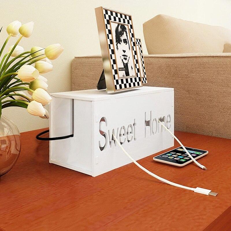 Wit hout-kunststof Board Socket netsnoer Wire Cable Management - Home opslag en organisatie - Foto 3