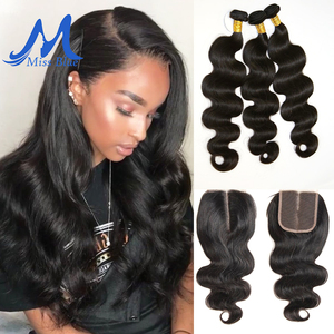 Image 2 - Missblue 3 Bundles With Closure Peruvian Hair Weave Bundle With Lace Closure Body Wave 100% Remy Human Hair Bundles With Closure