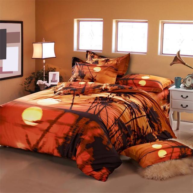 Beau 3D Oil Painting Sunset Palm Tree Bedding Sets Queen Size Duvet Cover Pillow  Case Bed Linen