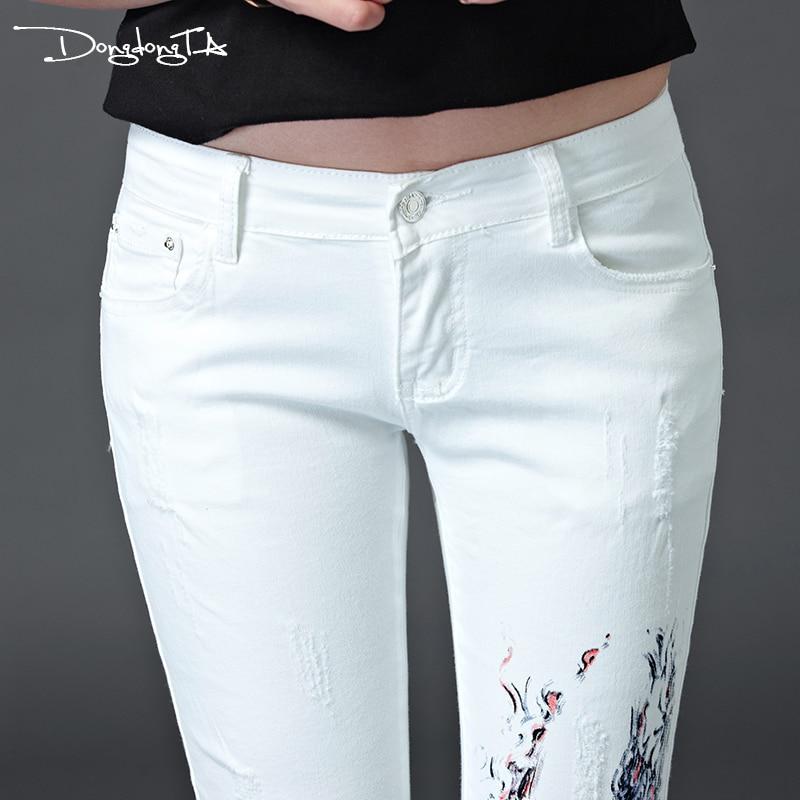Pintados Media Blanco Para Completa Dongta White La Algodón Color Ajustados A Pantalones 2017 Niñas Moda Verano Lavados Cintura Vaqueros De Longitud Ty1SEMK