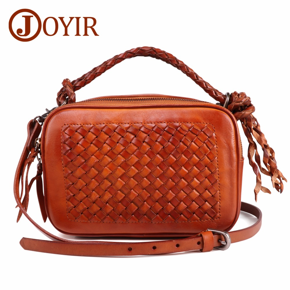 JOYIR Women Bags Knitting Women Handbag Fashion Weave Shoulder Bags Vintage Genuine Leather Casual Lady Crossbody Messenger Bag joyir women weave genuine leather handbag female leisure casual lady crossbody shoulder bag women messenger top handle bags sac
