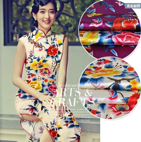 2015.11.11 soie Cheongsam robe tissu impression tissu Stretch Satin broderie Imitation violet Cha Fanghua