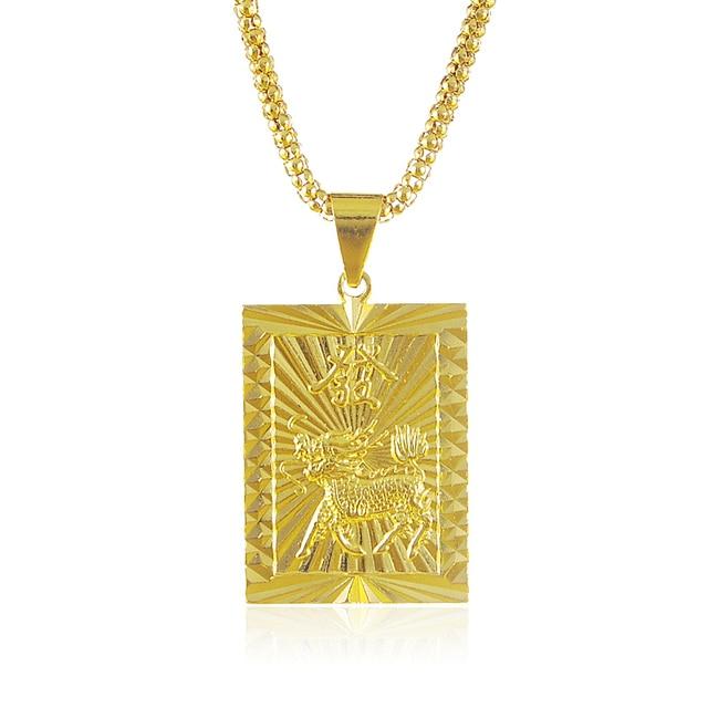 Most popular 70cm long classic 24k gold deer rectangle pendant most popular 70cm long classic 24k gold deer rectangle pendant necklace with chinese word for men mozeypictures Gallery