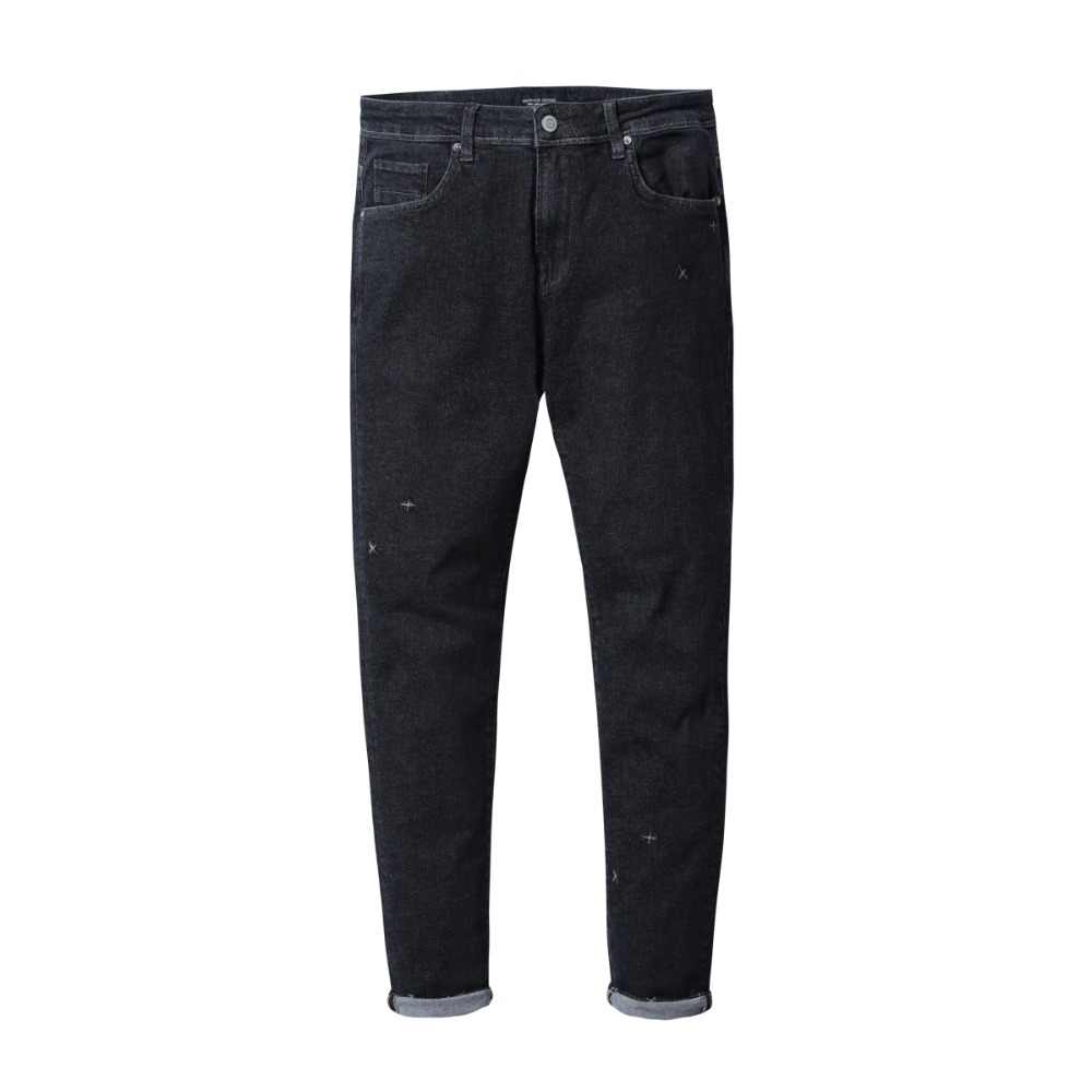 SIMWOOD 2019 весенние мужские узкие джинсы, модные уличные джинсовые брюки высокого качества с вышивкой, одежда 180412