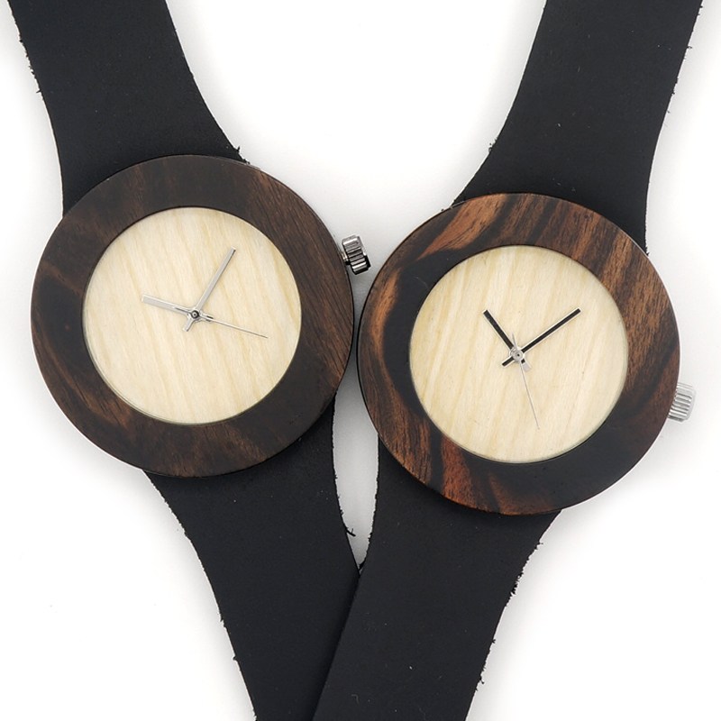 HOT Fashion Unisex Ebony Wooden Watches Three Options With Watch Genuine Leather Straps Quartz watch Accept