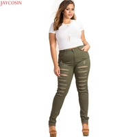 Kissmilk Women Plus Size Army Green High Waist Distressed Skinny Jeans Trousers Ripped Big Size Pencil