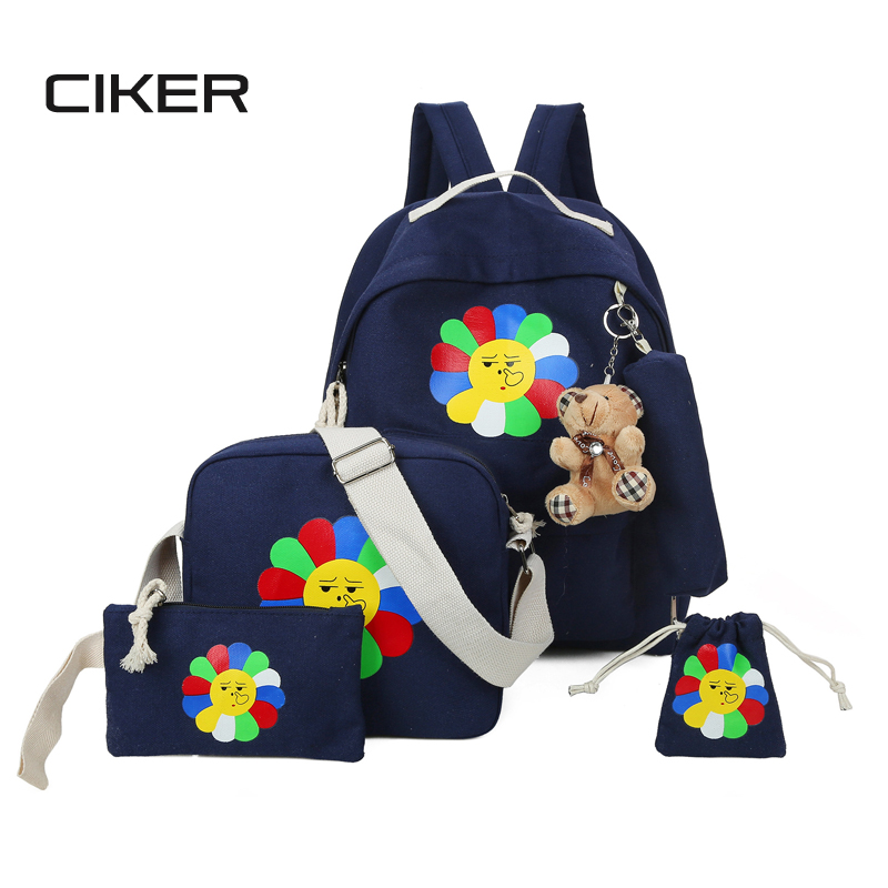 CIKER 2017 Fashion women canvas 5pcs set backpack for teenage girls laptop backpacks cute student shoulder