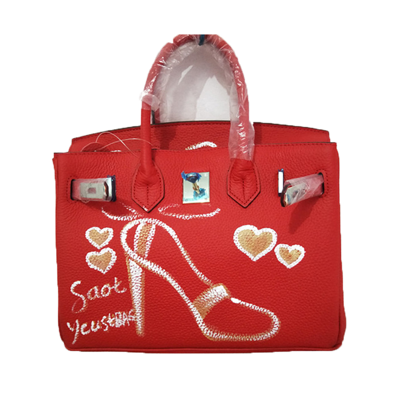 Custom Handpainted Graffiti Paintings High Heels Pattern Red leather briefcases for women Genuine Leather 30CM Birthday Present цена 2017