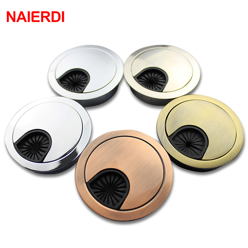 NAIERDI Zinc Alloy Desk Wire Hole Cover Base Computer Grommet Table Cable Outlet Port Surface Line Box Furniture Hardware 7 7mm metal round grommet wire cable hole cover for computer desk line box