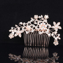 Bride Pearl Hair Combs Wedding Dress Accessories Women Rhinestone Pearl Head Piece Hair Ornaments(China)