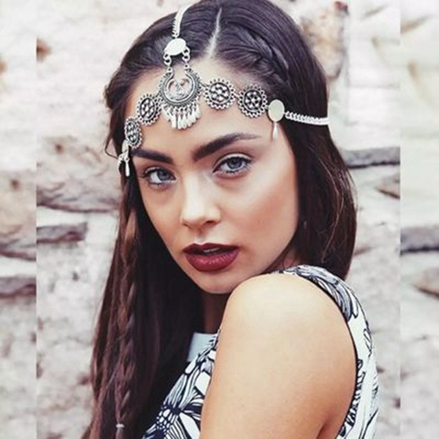Misananryne Haar Kopf Zubehor Vintage Munzen Blume Hairgrip Kette