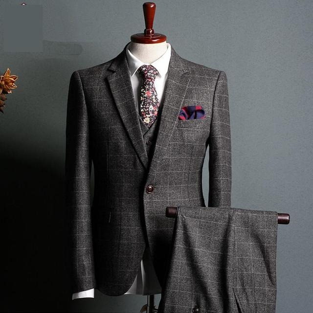 Grey Check Fabrics Wedding Suit 2017 Business Affairs Suit Groom ...