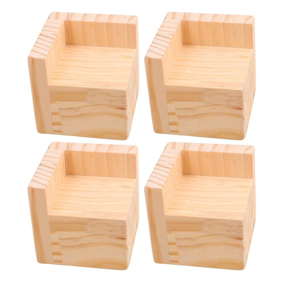 4PCS 7.5x7.5x7.3cm L-Shaped Semi-Closed Lift Wooden Bed Desk Riser Lifter Table Furniture Feet Lift Storage