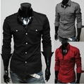 free shipping   hot sale Two-pocket men's casual fashion epaulette design Slim long-sleeved shirt