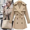 Famosa marca de alta calidad del estilo de otoño invierno de color caqui trench coat mujeres moda abrigos 2015