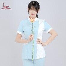ナースの夏の摩耗半袖女性の分割スーツブルーピンクカラー病院医療カスタム作業服スーツ