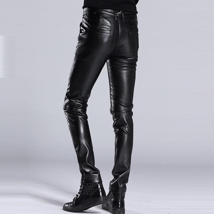 Mâle Black Moto Pantalon Rue Pu Mode Hommes Slim 2018 En De La Cuir Homme Élastique Haute fdqyZ77w4