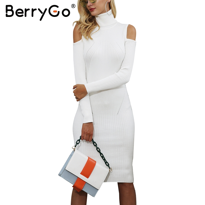 BerryGo Turtleneck cold shoulder knitting winter dress women Casual pull knitted dress Wine red autumn dress pullover female turtleneck cold shoulder jumper dress