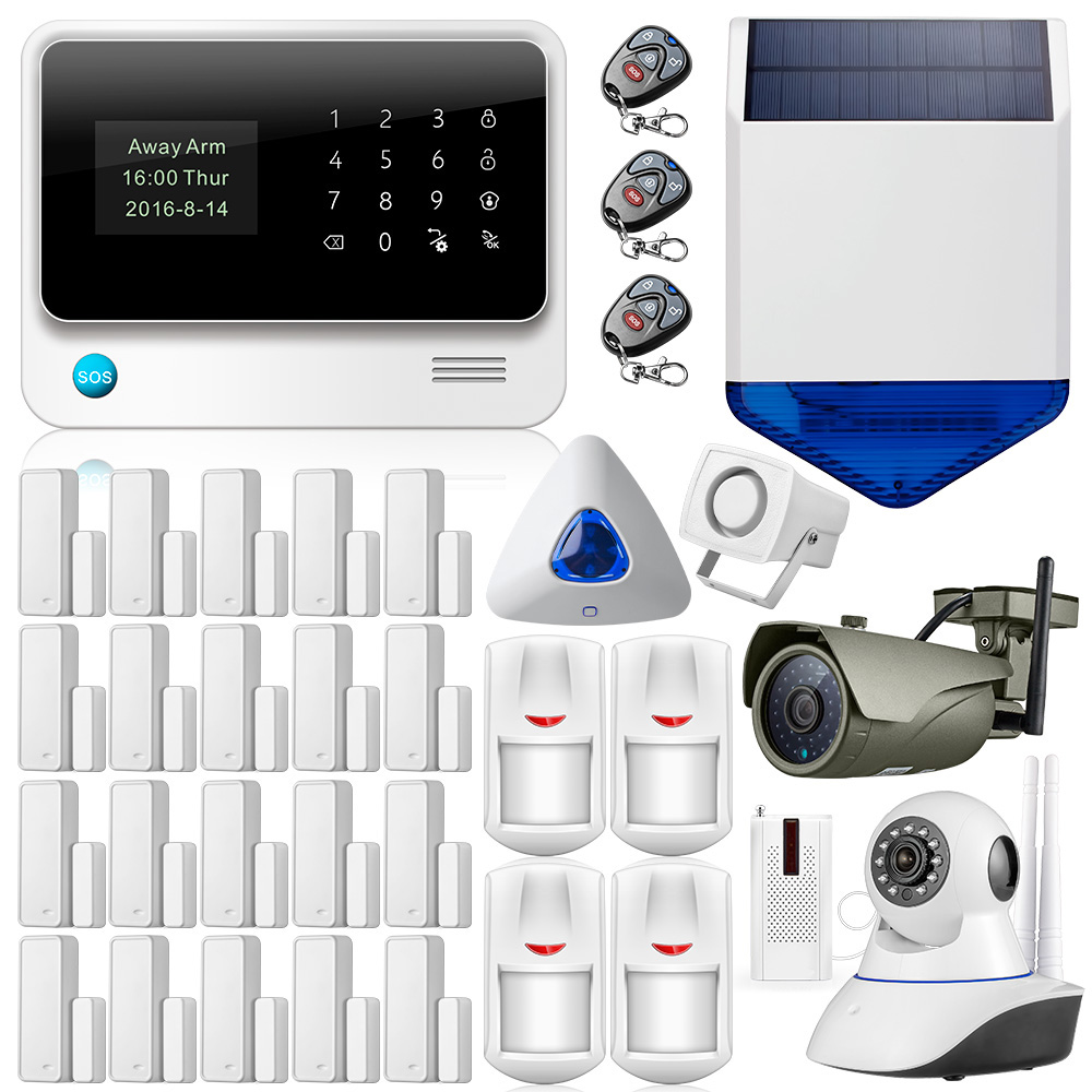 G90B Além Disso WIFI IOS Android APP Controle GSM Home Security Vigilância Flash Sirene Solares Sensor de Câmera de Segurança Em Casa Sistema de Alarme