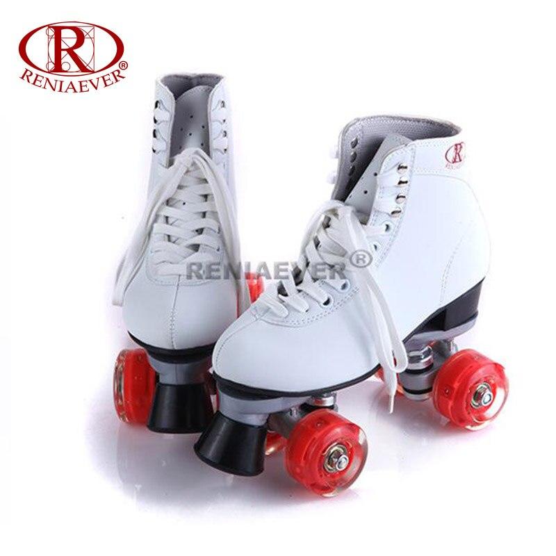 Prix pour Reniaever patins à roulettes double ligne patins blanc femmes lady adulte rouge led éclairage 4 roues deux ligne de patinage chaussures patines