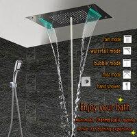 Латунь 3 ходовой клапан настенные краны для ванной и душа набор водопад потолок смеситель для душа набор спа кран дождь пузырьковый туман ду
