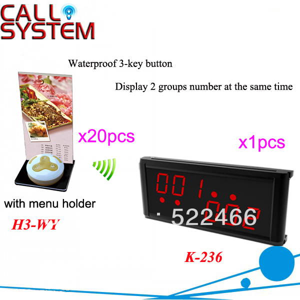 Service Pager System K-236+H3-WY+H with 3-key call button and LED display for restaurant service DHL free shipping