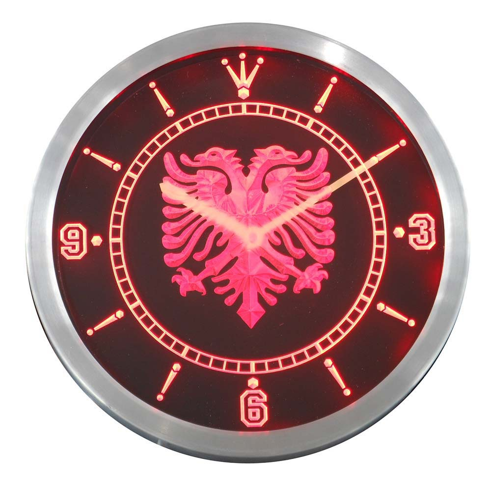 nc0400 r Albanian Eagle Bar Pub Neon Sign LED Wall Clock