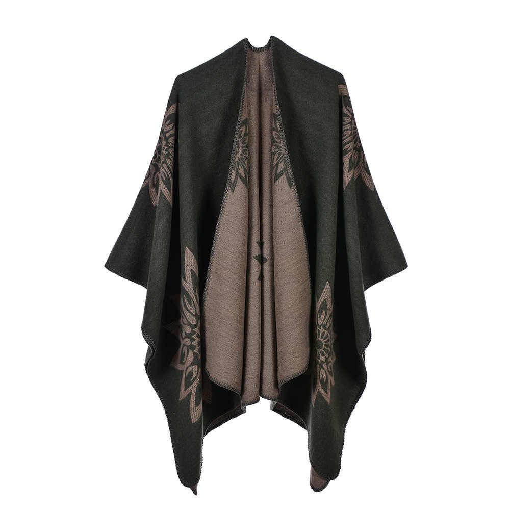 RS7 2019 длинный кардиган оверсайз с принтом путешествия Кемпинг искусственный кашемир зимнее теплое пончо для женщин Толстая Женская воздушная уютная шаль