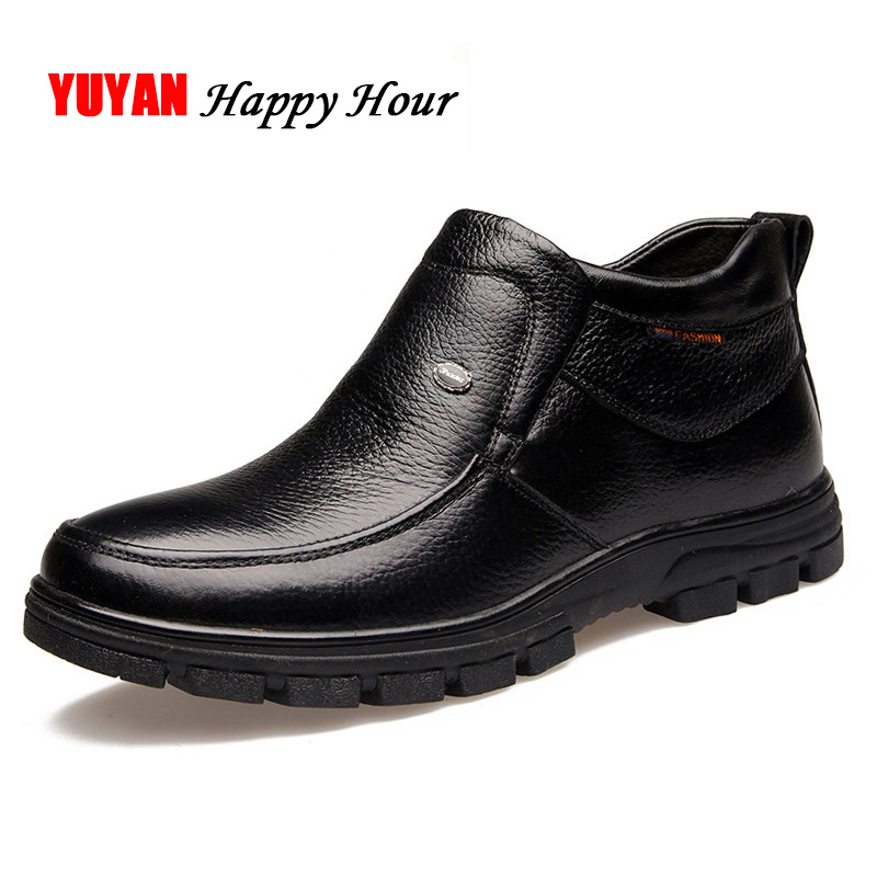 Winter Shoes Men Chelsea Boots Genuine Leather Flat Thick Sole Men's Ankle Boots Man Brand Cowhide Winter Shoes Warm Plush KA448