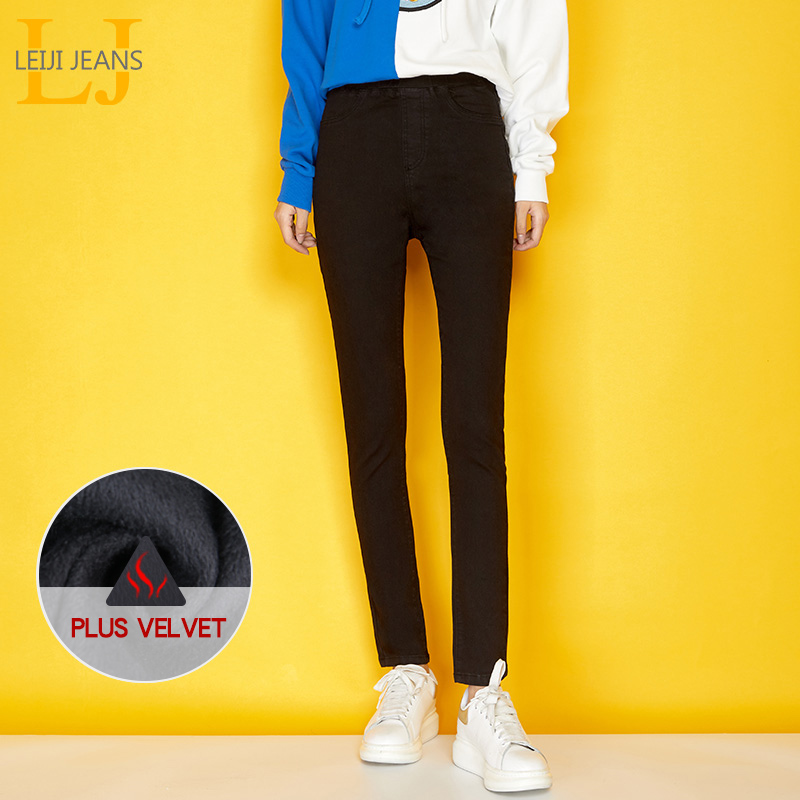 5701d8b4b20 Detail Feedback Questions about LEIJIJEANS New Winter Casual Thicken Jeans  2 Colors Plus Size L Full Length Elastic Waist Fleece Skinny Pencil Jeans  Women ...