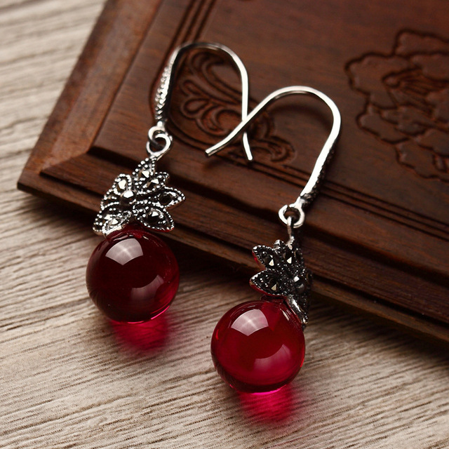 Long Baolong 925 Sterling Silver Genuine red corundum Green Agate Earrings Earrings New retro fashion lady