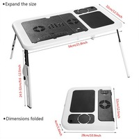 HOMDOX Laptop Stand New Portable Folding Adjustable Bed Notebook Table Desk With 2 Cooling Fans Mouse