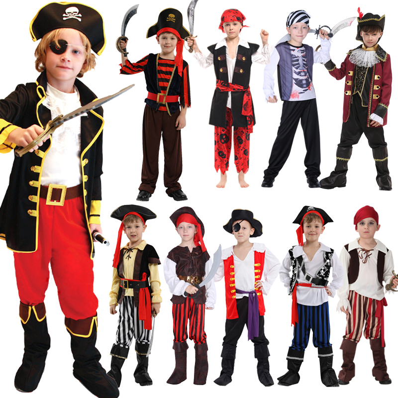 Free Shippoing Halloween Children's Pirate Costume Ball Shows Costumes Boys And Girls Caribbean Pirate Captain Clothes Set