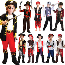 Free Shippoing Halloween Childrens Pirate Costume Ball Shows Costumes Boys and Girls Caribbean Captain Clothes Set