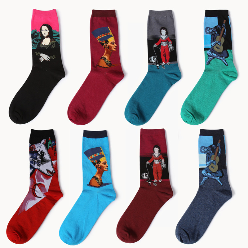 2017, Новая мода Для мужчин и Для женщин Harajuku Стиль печати масляной живописи Книги по искусству носок хлопка Повседневное Носки для девочек Мо... ...