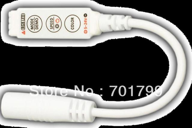 R101-WS;Mini 3-Key RGB LED controller;4A*3channel output;DC5-24V input with DC connector