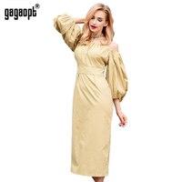 Gagaopt 100 Cotton Autumn Dress Off Shoulder Puff Sleeve Vintage Long Dress SexyParty Dresses Robe Longue