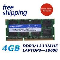 Memória ddr3 ram sodimm 4 gb ddr3 do portátil de kembona PC3-10600 1333mhz 204 pinos 4g módulo memória nova