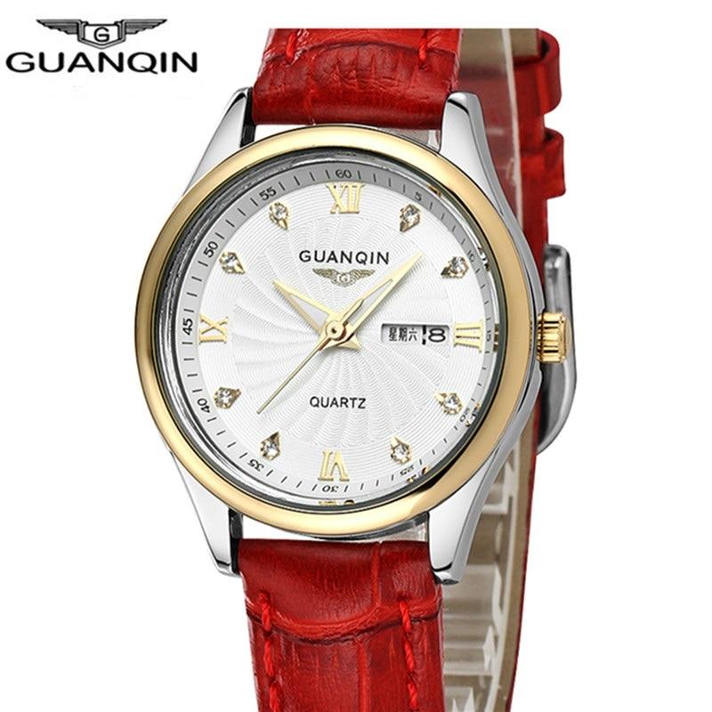 Brand guanqin women quartz watches female waterproof double calendar luminous leather strap women s watches ladies