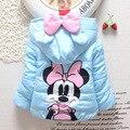 Девушки зимнее пальто 2017 новых Корейских детская одежда для новорожденных теплый ватник Микки куртка мода верхняя одежда для детей Мультфильм мышь