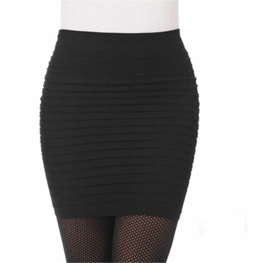 弾性プリーツスカートハイウエストボディコンミニスカートビジネスオフィス安いショート鉛筆スカート無地ピンク黒ブルーホット