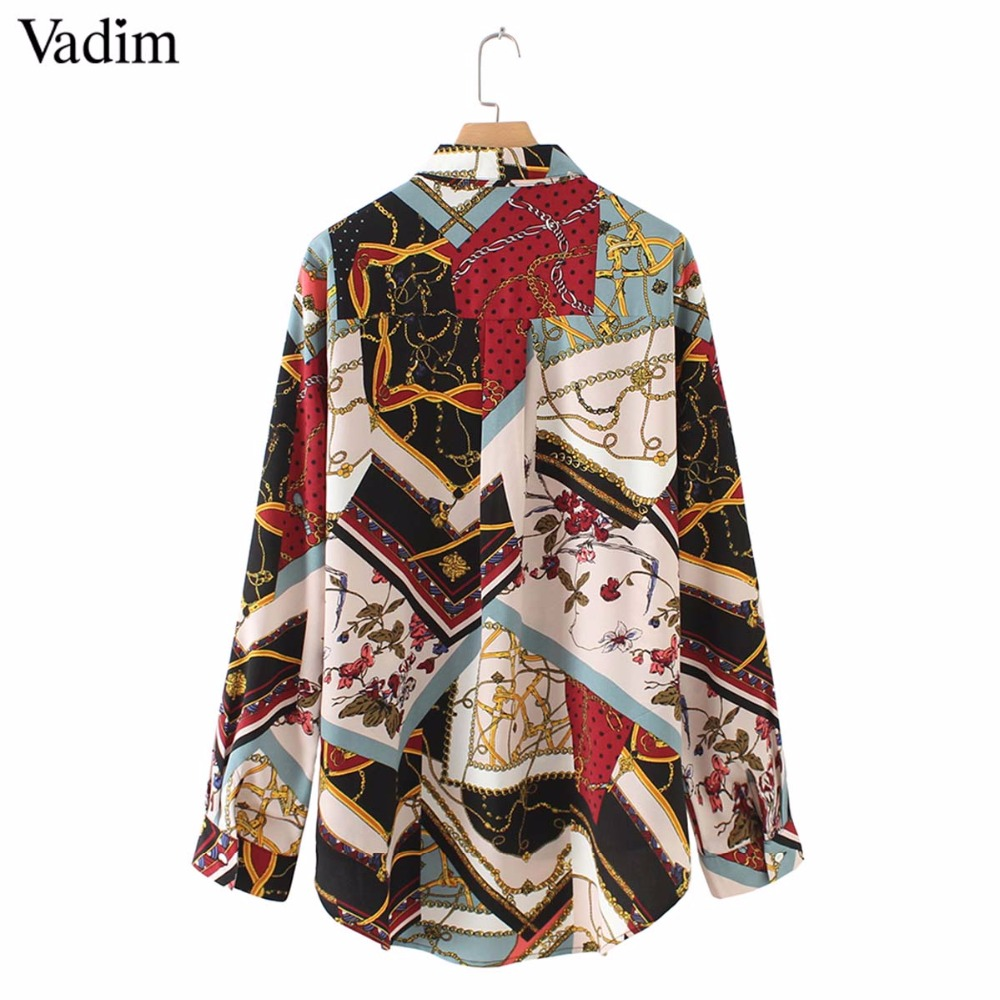 Vadim women vintage Geometric pattern blouses long sleeve turn down collar pleated shirts female casual wear