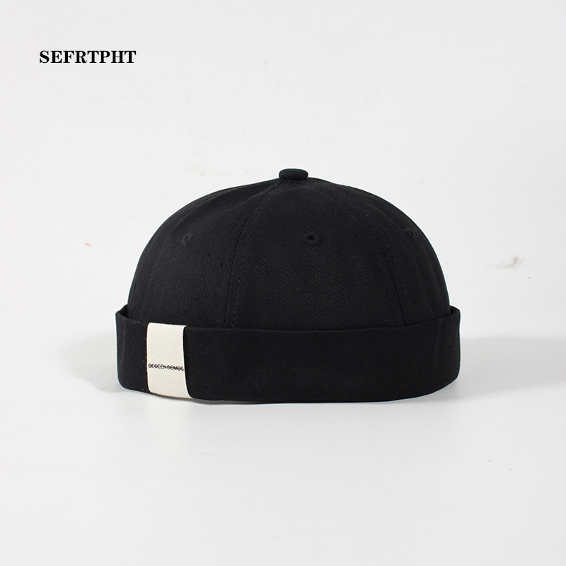Skullcap Brimless Hat Women Men Skullcap Sailor Cap Cuff Vintage   Beanie   Hat Solid Color Cotton Short   Beanie   Strap Cap Gorra