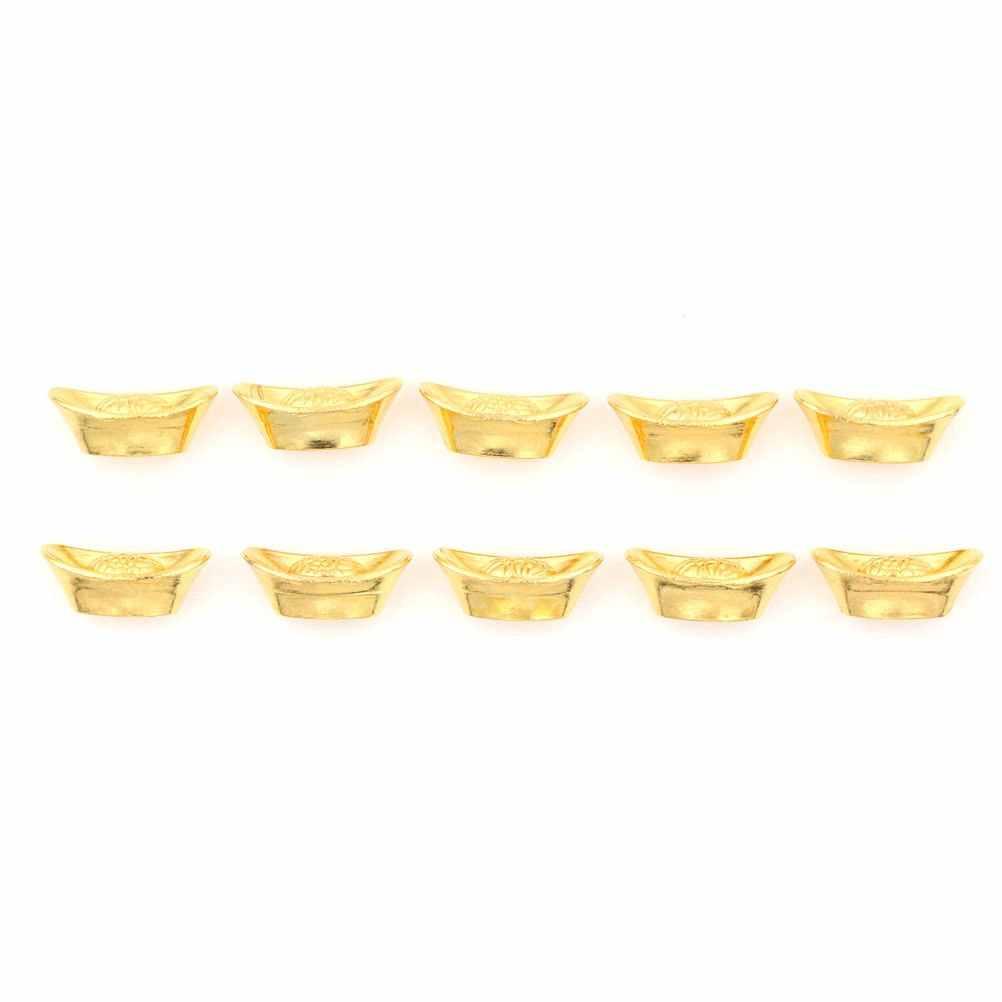 10 Buah/Set Cina Emas Ingot Ornamen Beruntung Yuanbao Fengshui Dekorasi Maskot Kerajinan Logam Feng Shui Yang Baik Beruntung Kerajinan